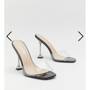 Clear Perpsex Heeled Mules